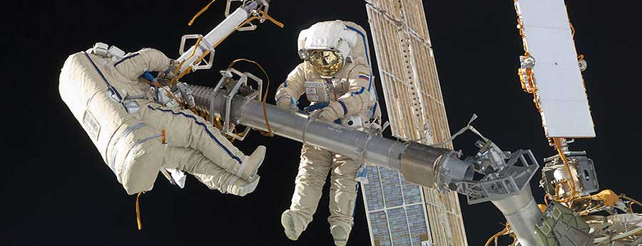 Cosmonauts working on the ISS
